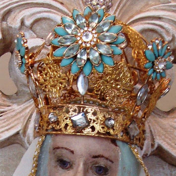 Mary Statue Santos Crown French Nordic Religious Statuary Madonna Guadalupe Lourdes Chateau Chic
