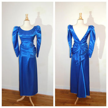 Adult Cinderella Dress Blue Princess Dress Unusual 1980s Prom Evening Gown Long Sleeve Bustled Back size Small