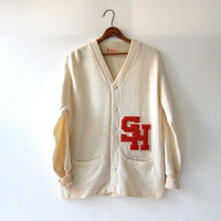 Vintage 50s Varsity Letterman Sweater. Cream White Red Cardigan Sweater. Boyfriend Sweater. Wool Button Up Sweater.