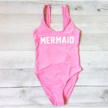 2018 New Letter Print MERMAID Women One Piece Swimsuit _ Free Shipping