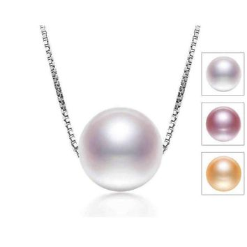 6-7mm Single Freshwater Pearl Pendant 925 Sterling Silver Necklace (Length: 45cm (Available Colors: Pink, Purple, White))