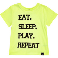 River Island Mini boys green eat sleep play repeat t-shirt