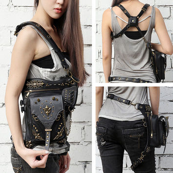 Gothic punk Belt Bag Waist leg Hip hop Holster shoulder Pouch travel Rock Purse Wallet Handbag