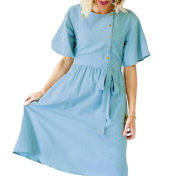 Z| Chicloth Light Blue Asymmetrical Button Up Front Midi Dress