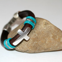 Men's Thick  Leather Cross Bracelet With Hook Clasp Available in Two Colors and Three Finishes