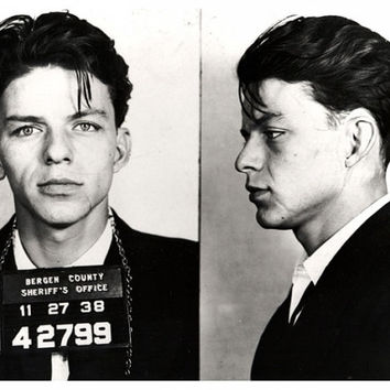 "Frank Sinatra- Mugshot (Arrest Photo) - Bergen County, New Jersey c.1936- Charged with ""Seduction"" i.e. (adultery)  - Old Photo Print"