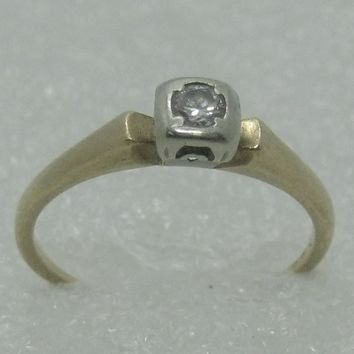 Vintage 14kt Diamond Engagement Ring, Art Deco, Two-Tone, Sz. 7, 1911, Estate