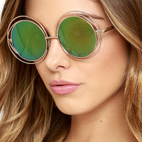 Planet Pluto Gold and Green Round Sunglasses
