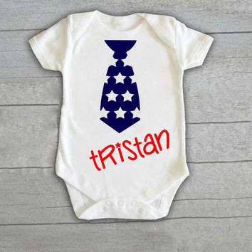 Personalized Stars Tie Baby Boy Onesuit Newborn (CHOOSE COLORS) Infant Bodysuit Coming Home Outfit Gift Stripe Name Flag America 4th July