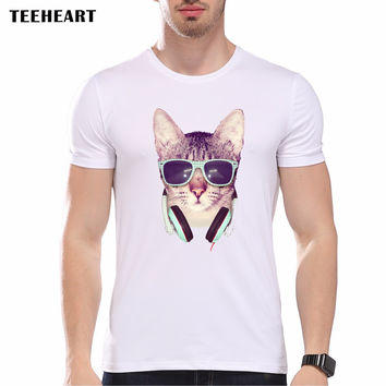 Cool Glasses Animal Printed Personalized T-Shirts Men Boys Adult T Shirt Cute Cat Top Tees