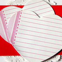 Vintage Heart Memo Sheets. Valentine Card. Love Note. Heart Stationery. Lined Writing Paper. Small Note Paper. Vintage Valentine.