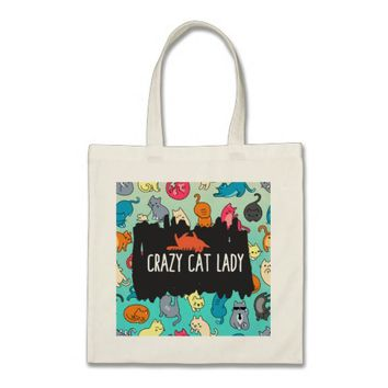 Crazy Cat Lady Cute and Playful Cat Pattern Tote Bag