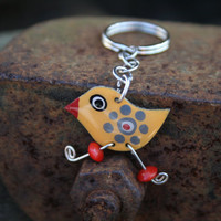 Funny yellow bird keychain stainless steel by HorakovaDesigns