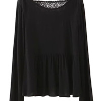 Black Flare Sleeve Back Lace Detail Blouse