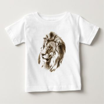 Vintage Lion With Orange Eyes Transparent Drawing Baby T-Shirt