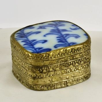 Trinket Ring Box Chinese Porcelain Shard Lid Silver Tone Ornate Metal Cobalt Blue White Design Vintage Stash Container