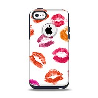 The White with Colored Pucker Lip Prints Apple iPhone 5c Otterbox Commuter Case Skin Set