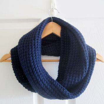 Dark Blue Scarf - Blue Infinity Scarf - Blue Circle Scarf - Hand Knit Scarf - Winter Scarf - Extra Long Scarf - Knitted Scarf - Knit Scarf