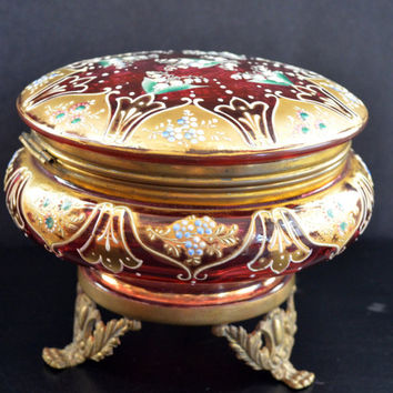 Moser Cranberry Enamel Glass Powder Jar Dresser Box Victorian Art Glass