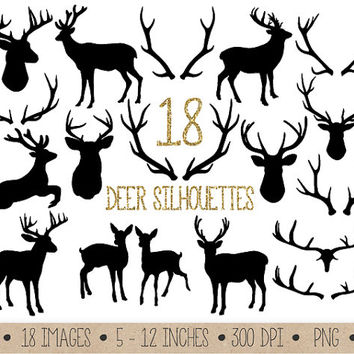 SALE - 50% OFF. Deer and Antler Clipart. Silhouettes Clip Art. Black Digital Antler Silhouette Images. Christmas Raindeer Scrapbook Clipart.