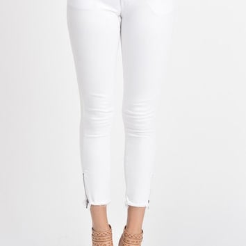 White Zip Ankle Frayed Skinny Jeans