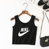 """Nike"" Women Sport Casual Letter Print Sleeveless Vest Crop Tops"