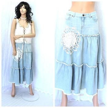 Upcycled vintage 70s POLO Ralph Lauren denim skirt size 5 / 6, 1970s denim lace prairi