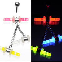 Belly Ring-Hanging Glowsticks