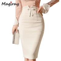 Magiray Harajuku High Waist Midi Skirt Women 2018 Summer Office Korean Elegant Split Back Sexy White Bodycon Pencil Skirt C343