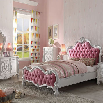 Acme 30650Q 5 pc Versailles antique white finish wood pink tufted queen bedroom set