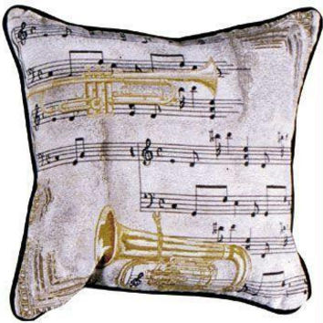 Music And Brass Instruments Throw Pillow - One Side Design