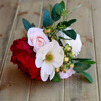 Marsala, Magnolia, and Burgundy Silk Bridesmaid Bouquet