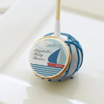 Sailboat on Water It's A Boy, Nautical Baby Shower Cake Pops