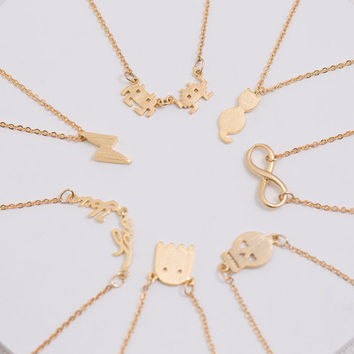 Delicate Minimal Charm Necklace - Cute Charms, Infinity, Cat, Skkull Layering and Gifting, Gold Filled, LUVINMARK