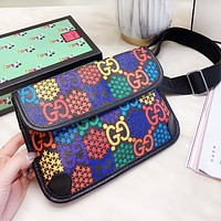 GUCCI New Women Men Leather Chest Bag Waist Bag Shoulder Bag Crossbody Satchel