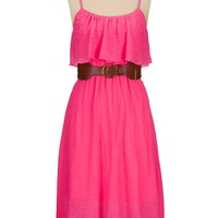 Neon High-low belted gauze dress
