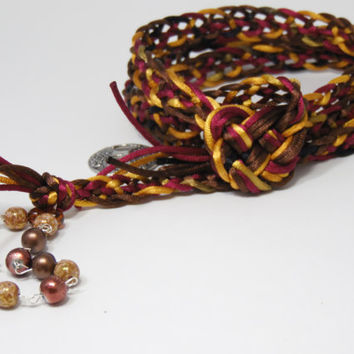 Handfasting Cord - Falling Leaves - Wedding Cord in Brown, Wine and Gold - CUSTOM ORDERS WELCOME - Trinity Crossing