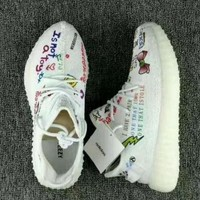 Adidas Yeezy Boost 350 Floral Embroidered Sneakers Sport Shoes-3