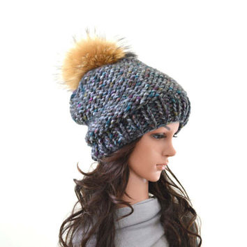 Chunky Slouchy Woman Knit Hat Beanie Toque with Large Fur Pom Pom   The Charlotte