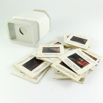 Vintage Russian Diascope,Photography Slide Viewer Soviet Film Viewer White and Blue 35 mm Accessory For Photography Peter Paul Rubens SLIDES