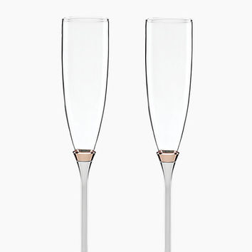 Kate Spade Rosy Glow Toasting Flute Pair Rose Gold ONE