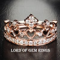 Diamond Wedding Band Engagement Ring 14K Rose Gold Heart Crown
