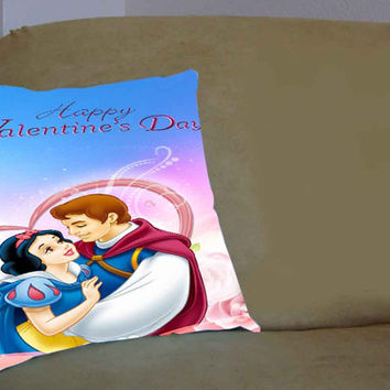 Disney Happy Valentines Day Princess - Pillow Case, Pillow Cover, Custom Pillow Case **