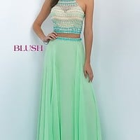 Two Piece Blush Long Prom Dress BL-11056