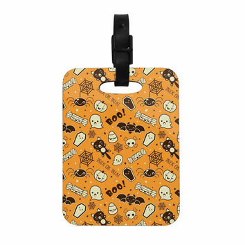 "KESS Original ""All Cute Halloween"" Orange Pattern Decorative Luggage Tag"