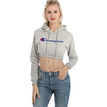 """Champion"" Newest Popular Women Sexy Print Short Shirt Crop Long Sleeve Hoodie Velvet Sweater Pullover Top Grey"