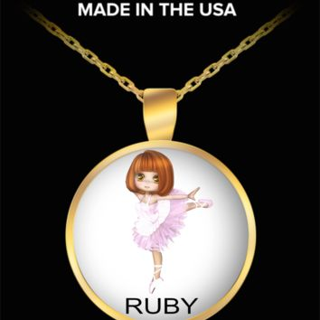 Ruby Ballerina Necklace Gold Plated