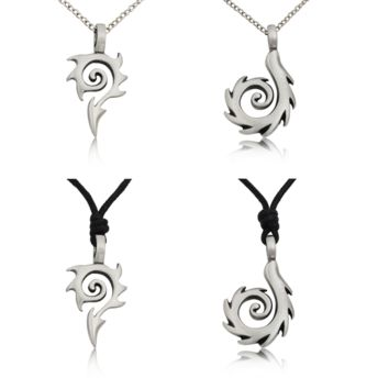 Tribal Maori Fishing Hook Silver Pewter Charm Necklace Pendant Jewelry