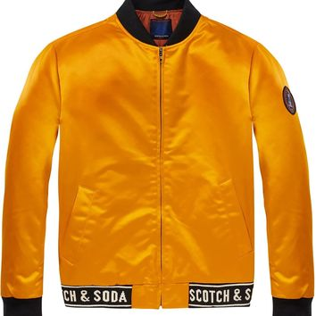 Yellow Gold Satin Bomber Jacket by Scotch & Soda