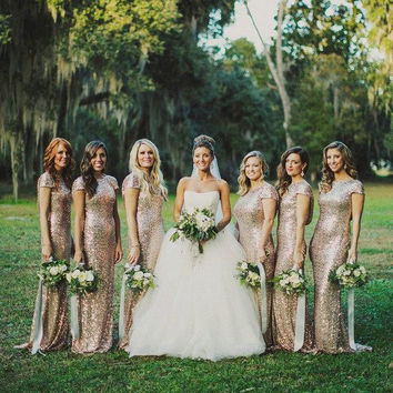 Glitter Gold Bridesmaid Dresses 2016 Long Cap Sleeve Mermaid Bridesmiad Formal Dresses for Wedding Party Gown